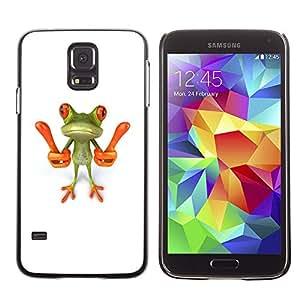 X-ray Impreso colorido protector duro espalda Funda piel de Shell para SAMSUNG Galaxy S5 V / i9600 / SM-G900F / SM-G900M / SM-G900A / SM-G900T / SM-G900W8 - Smart Frog Funny Cartoon Minimalist White