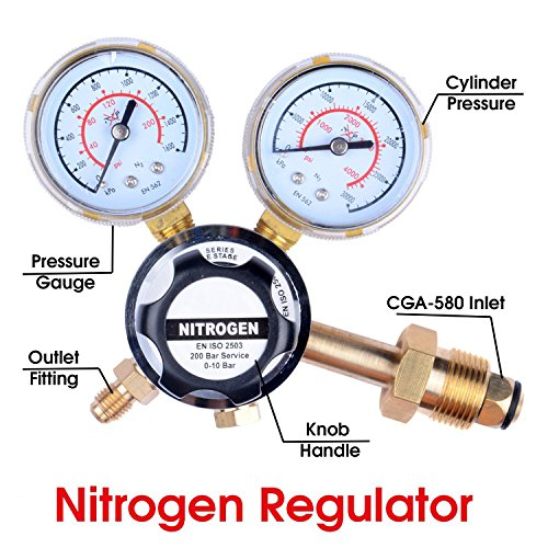 - MANATEE Nitrogen Regulator 3000 PSI - CGA580 Inlet Connection and 1/4-Inch Male Flare Outlet Connection Adjustable Gas Regulator HVAC Durable Brass Accurate and Dependable