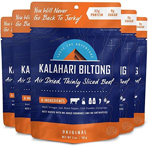 Kalahari Biltong   Air-Dried Thinly Sliced Beef   Original   2oz (Pack of 5)   Zero Sugar   Keto & Paleo   Gluten Free   Better than Jerky
