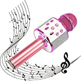 SUGOO Karaoke Microphone for Kids, Singing Machine Microphone Birthday Family Party Gift for Girls Boys Children Kids Age 6-15 Year Old Girl Gift Wireless Microphone Bluetooth Purple Mic