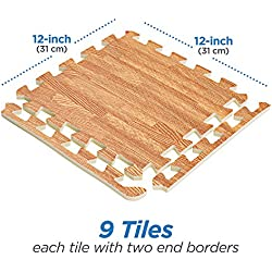 Basics Hardware Interlocking Puzzle Wood Mat (Light Wood)