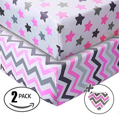 Jersey Cotton Fitted Crib Sheets, 2 Pack-100% Organic & Shrink-Resistant for Girls-Soft and Protective-Chevron & Stars-Grey & Pink Design,Standard crib Mattress- No Rips or Holes with Use,Guaranteed!