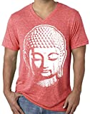 Mens Big Buddha Head V-Neck Tee, Large Red Triblend
