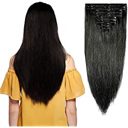 """Double Weft Clip in 100% Remy Human Hair Extensions #1 Jet Black 10''-22'' Grade 7A Quality Full Head Thick Long Soft Silky Straight 8pcs 18clips for Women Fashion 18"""" / 18 inch 140g"""