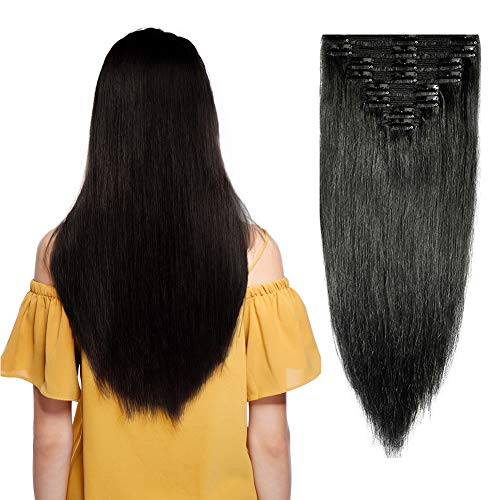 Double Weft Clip in 100% Remy Human Hair Extensions #1 Jet Black 10''-22'' Grade 7A Quality Full Head Thick Thickened Long Soft Silky Straight 8pcs 18clips for Women Fashion 18