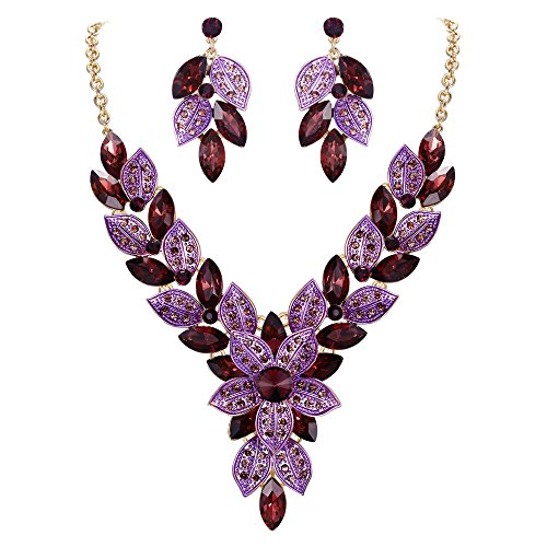 EVER FAITH Women's Crystal Elegant Bridal Cluster Flower Leaf Necklace Earrings Set Purple Gold-Tone