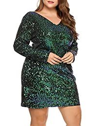 IN'VOLAND Women's Plus Size Glitter V-Neck Long Sleeve Bodycon Sequin Cocktail Party Club Evening Mini Dress(16~24W)