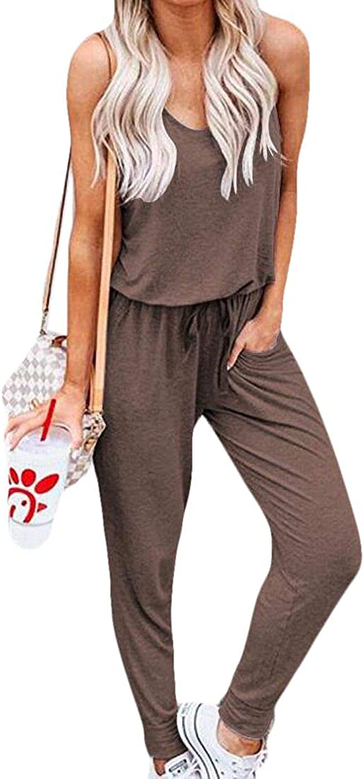 SELX Women Sleeveless Drawstring Waist Casual Rompers Jumpsuit with Pockets