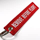 Automotive : Remove Before Flight Keychain - Red/White 1pc by Rotary13B1