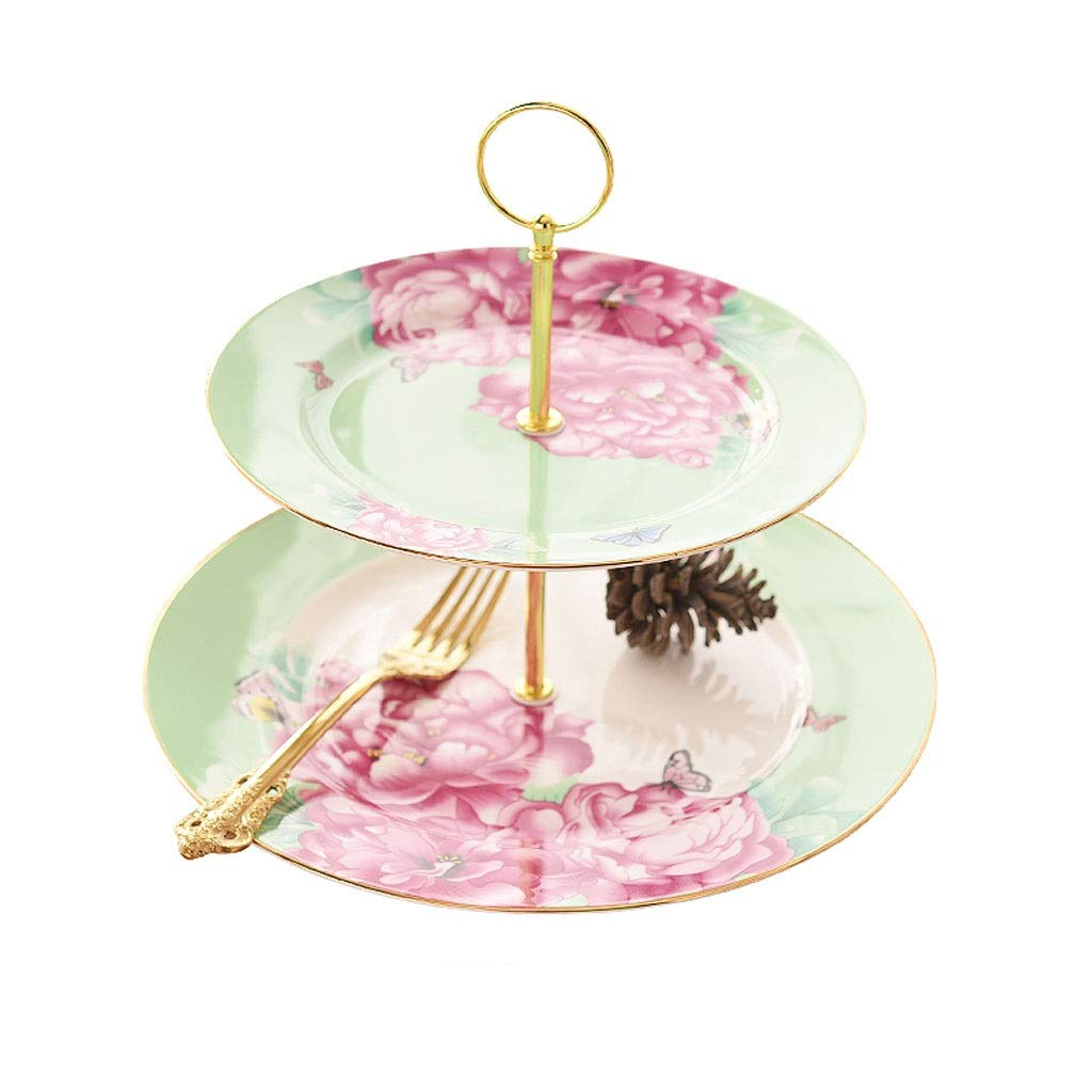 2-layer Creative Candy Dessert Table Storage Cake Display Tray Cake Tray Afternoon Tea Snack Rack (Color : E)