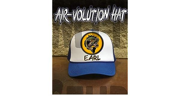 7cb50135 Amazon.com: Personalized Airbrush Bass Fishing Snapback Trucker Hat:  Handmade