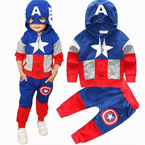 Hoodie and Pants Superhero Set (3-4 Years, Captain America)