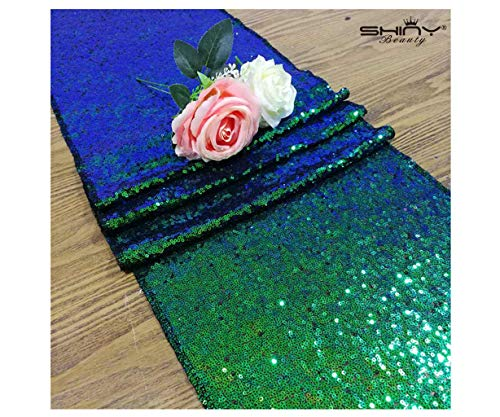 ShinyBeauty Table Runner 2 Pack Sequin Table Runners Green Blue 12inx108in Curtains Glitter Runner for Weddings (Iridescent Green) ~0116S