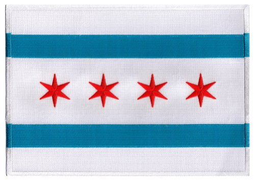 (Chicago City Flag Large Embroidered Patch Iron-On Illinois Emblem )