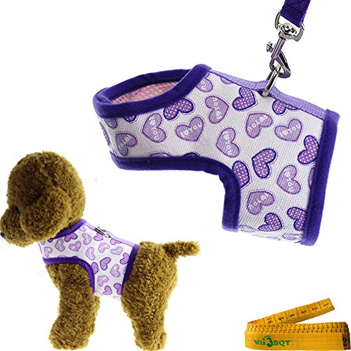 "Purple Bright Soft Comfortable Mesh Heart Printed Dog Cat Pet Vest Harness and Matching Leash Set for Dogs Cats ((10.2""-11.8"") Chest Girth)"