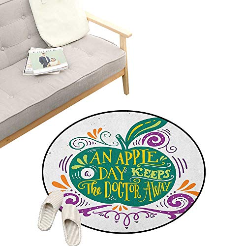 - Quotes Round Carpet ,Inspirational Artsy Apple Print for Motivation Clean Eating Diet Fresh and Healthy, Kids Room Bedroom Bedside Rug 39