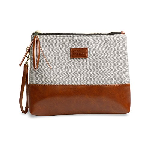 - Wristlet Wallet Clutch Bag {Greta-Large} Phone Purse Handbag Gray White Herringbone Funky Monkey Fashion