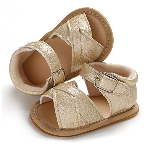 (SOFMUO Baby Girls Boys Sandals Premium Soft Anti-Slip Rubber Sole Infant Summer Outdoor Shoes Toddler First Walkers (12-18 Months M US Infant, A-Gold))