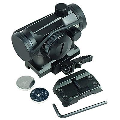 Quick Release Tactical Reflex Red Green Dot Sight Scope w/ Dual Riser / Low Profile Rail Mounts
