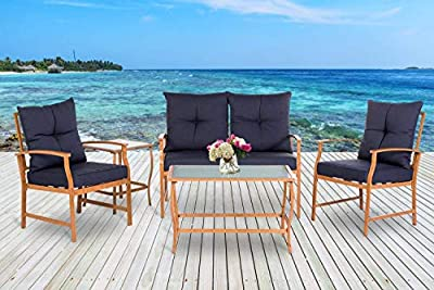 Solaura Outdoor Furniture 3-5 Piece Bistro Set Dining Chairs/Loveseat/Conversation Set Wood-Grain Metal Frame Sofa Set & Navy Blue Cushions with Glass Coffee Table