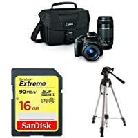 Canon EOS Rebel SL1 Digital SLR with 18-55mm STM + 75-300mm f/4-5.6 III Lens Bundle (Black) + Memory Card and Tripod