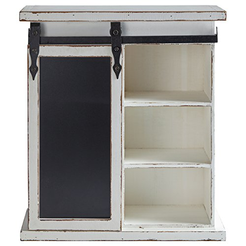Stone & Beam Vintage Farmhouse Wood Floating Wall Storage Cabinet with Chalkboard - 24 x 21 x 8 Inches, Antique White ()