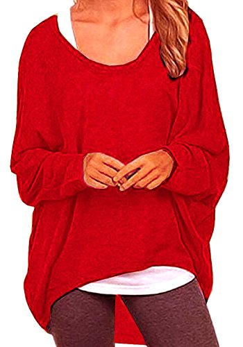lymanchi Women Batwing Tops Casual Long Sleeve Baggy Shirt Sexy Pullover Blouse Red S (Holiday Red Top Shirt)