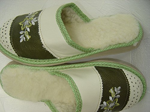 WARME Hausschuhe Pantolette Gr.40, Echt LEDER+Schurwolle+bequem (PL.25-01/41)