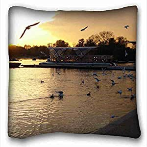 Soft Pillow Case Cover ( Nature Sea Ocean sunset sea lighthouse landscape ) Pillowcase Cushion Cover Design Standard Size 16x16 inches One Sides suitable for X-Long Twin-bed PC-Purple-9904