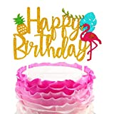 JeVenis Glitter Flamingo Happy Birthday Cake Toppers Luau Cake Decoration