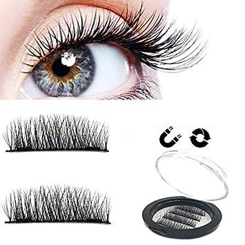 b2822427452 Amazon.com : Magnetic Eyelashes Natural Look NO Glue False Eyelashes Long  Extensions Ultra Thin Fiber Dual Magnet Fake Lashes : Beauty