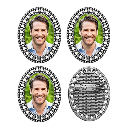 Groomsmen Gifts Groom Picture Lapel Pins Pack of 4 Memorial Wedding Oval Funeral Boutonniere Pin Kit w/Photo Resizing Software]()