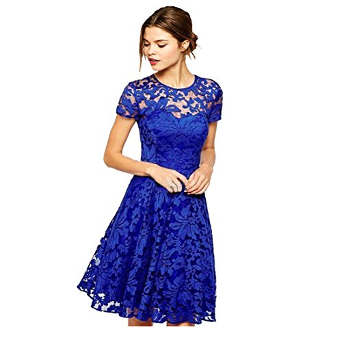 Women Short Sleeve Pleated Lace Slim Dress M Blue