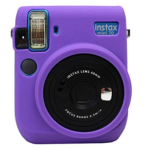 Protective Silicone Gel Rubber Soft Camera Case Cover Bag For Fujifilm Fuji Instax Mini 70 Camera Purple Fuji Soft Case