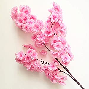 jiumengya 5pcs Cherry Flower Begonia Cherry Fake 100cm Long Stem Pleiopetalous Sakura More Flower Heads for Wedding Party Home Artificial Decorative Flowers 5