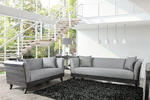 Esofastore 2pc Sofa Set Living Room Furniture Contemporary Sofa Loveseat Flared Arms Linen Like Fabric Mid-Century Pillows ()