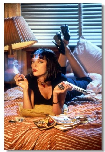 Pulp Fiction Movie Silk Wall Poster Big Room Prints Classic Quentin Tarantino Uma Thurman (001) - 24x36 inches by Muay Thai Fan