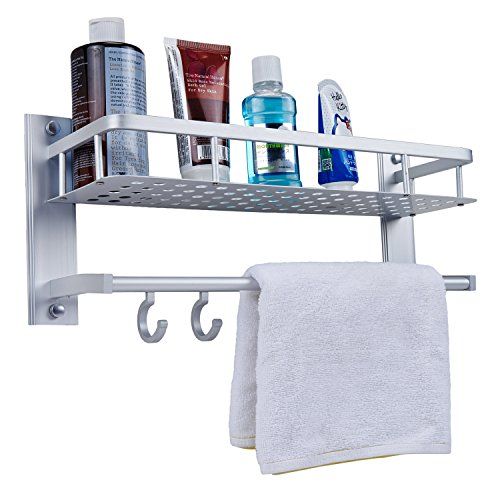 Bath/Kitchen Aluminum Storage Shelf Wall Mount Shower Shelving Towel Bars with (Shower Wall Mount Unit)