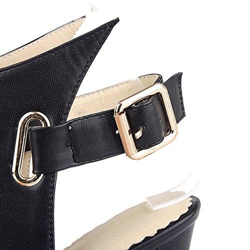 Sandali A Tacco Alto Con Cinturino Nero E Fibbia A Punta Tacco Alto Aiyoumei