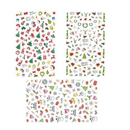BESTOYARD 3pcs Christmas Nail Stickers Nail Art Tattoo Decals Self-Adhesive Nail Art Transfer Decals Party Favors