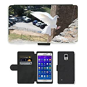 Super Stella Cell Phone Card Slot PU Leather Wallet Case // M00144813 Bird Dove Of Peace Dove Peace White // Samsung Galaxy Note 4 IV