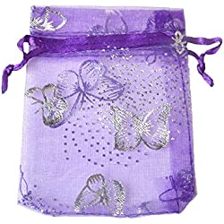 "100pcs Organza Wedding Party Gift Bags Butterfly Drawstring Pouches Jewelry Gift Bags Christmas Party Gift Favor Bags (3""x4"", Purple)"