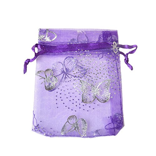 100pcs Organza Wedding Party Gift Bags Butterfly Drawstring Pouches Jewelry Gift Bags Christmas Party Gift Favor Bags (6