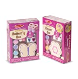 Melissa & Doug Decorate Your Own Wooden Trinket Box 2 Pack – Flower, Butterfly Toy
