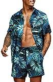 COOFANDY Men's Flower Shirt Short Sleeve Beach Shirt and Shorts Aloha Shirt Set