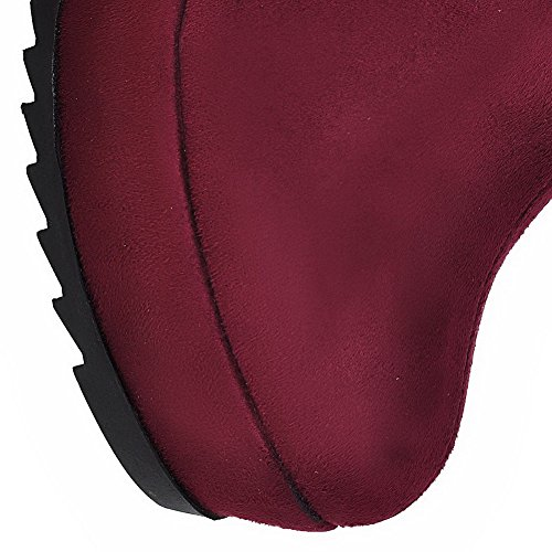 AllhqFashion Womens High-Heels Frosted Low-Top Solid Zipper Boots Claret zcIDD