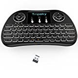 Tripsky T9 BACKLIT Wireless Mini Kodi Keyboard, Handheld Remote with Touchpad Mouse for Android TV Box, Windows PC, HTPC, IPTV, Raspberry Pi, XBOX 360, PS3, PS4(Black)
