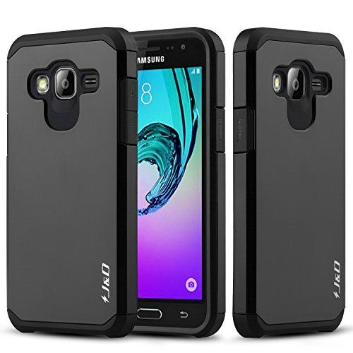 J&D Case Compatible for Galaxy J3 / J3 2016 / J3 V/Amp Prime / J3 Sky/Express Prime Case, Heavy Duty [Dual Layer] Hybrid Shock Proof Protective Rugged Bumper Case for Samsung Galaxy J3 Case - Black