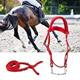 Horse Bridle, Red Adjustable Horse Bridle Rein Harness Horse Headstalls Bit Horse Equestrian Accessories with Soft Cushion