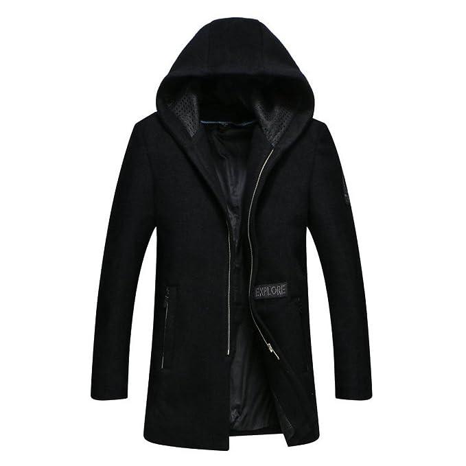 ab8325a1163143 Cappotto di Lana da Uomo Invernale Giovanile Coltivato con Cappuccio da  Uomo d'Affari nella